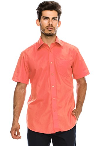 JC DISTRO Men's Regular-Fit Solid Color Short Sleeve Dress Shirt, Coral Shirts (3XL) ()