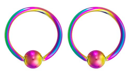 - Forbidden Body Jewelry 16g 12mm Rainbow Surgical Steel Captive Bead Body Piercing Hoops (2pcs)