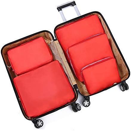 旅行用収納袋 5ピースパッキングキューブ旅行オーガナイザー荷物圧縮ポーチセット防水服収納バッグ旅行アクセサリー荷物オーガナイザーのセット ハンドロールアップ再利用可能な服 (色 : Red, Size : Free size)