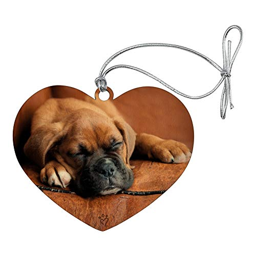 GRAPHICS & MORE Boxer Puppy Dog Sleeping in Leather Chair Heart Love Wood Christmas Tree Holiday Ornament Dog Christmas Holiday Ornament
