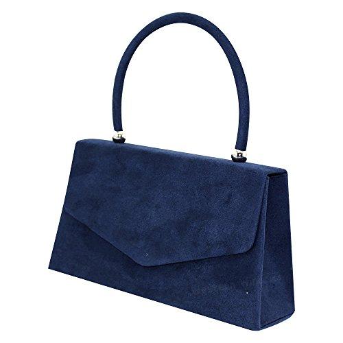 Purse Wocharm Ladies Women Wedding Shoulder Blue Handbag Handbag Bag Bridal Crossbody Navy 1 Bag Envelope Clutch Evening Prom Suede Party BB8xw5qr1