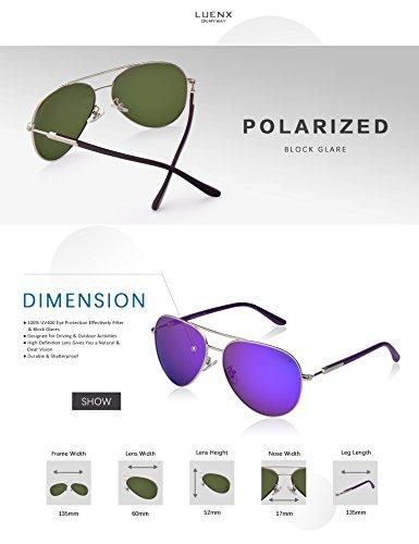 LUENX Homme Lunettes de Soleil Aviator Polarisé Avec Étui - UV 400 Protection Miroir Poids Léger Lunettes Métal Monture 60m 8-Violet