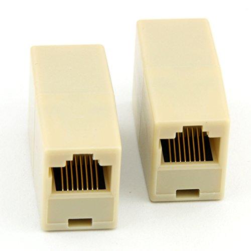 2 Pack RJ45 Ethernet Lan Cable Joiner Coupler Connector RJ45 CAT 5 5E Extender Plug (Coupler Cable Joiner)
