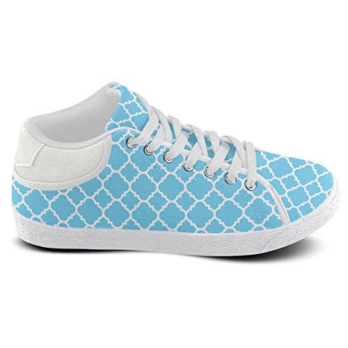 Artsadd Bleu Clair Blanc Quadrilobe Motif Classique Chukka Toile Chaussures Pour Femmes (model003)