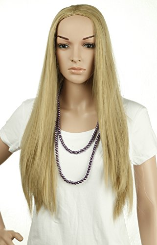 25'' Long Straight 3/4 Wig Natural Half Wigs Premium Quality Ash Blonde Hot Style Costum Party (Spiky Blonde Wig)
