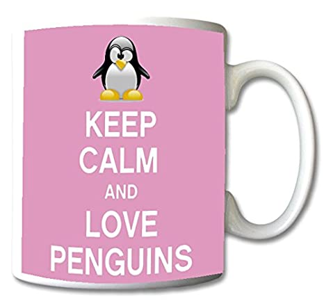 db55b2415d3 Keep Calm and Love Penguins Mug Cup Gift Retro (Baby Pink)
