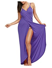 MorySong Women's Spaghetti Strap Backless Beach Dress Bikini Cover Up Wrap Long