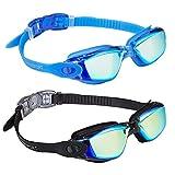 EVERSPORT Swim Goggles 2 Pack, Swimming Goggles Swim Glasses Anti Fog UV Protection Adult Men Women Youth Kids Child, Shatter-Proof, Watertight
