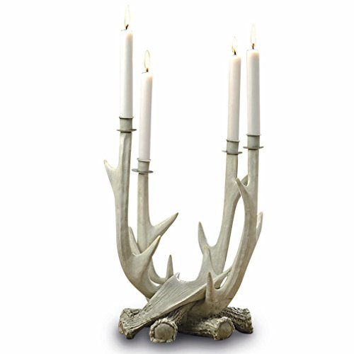 Weathered Cast - The Adirondack Antler Candelabra, 4 Arms,Candle Holders, Rustic, Realistic Reproduction Stag Horns, Bleached and Weathered Vintage Style, Cast Polyresin,15 Inches High, By Whole House Worlds