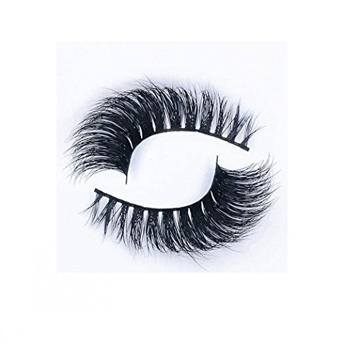 Beauty : Premium 3D Mink Eyelashes Extension 100% Authentic Mink Fur False Lashes 1 Pair Flexible Band Eye Lashes Strips