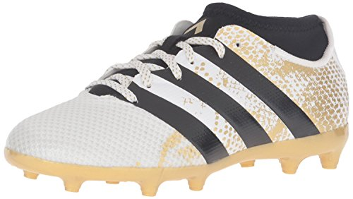 adidas Performance Kids' Ace 16.3 Primemesh Firm/Artificial Ground Soccer Cleats, White/Black/Metallic Gold, 12 M US Little Kid