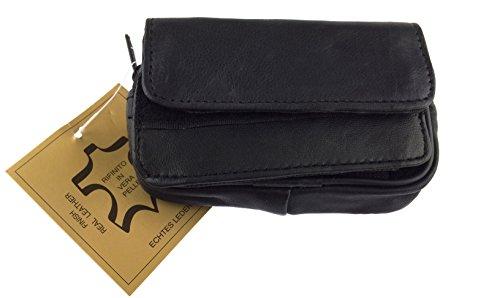 NB24 Elegante Handy- bzw. Gürteltasche Nappa Leder (6610) Lamm in schwarz, Größe: ca. 12 x 7 x 3 cm
