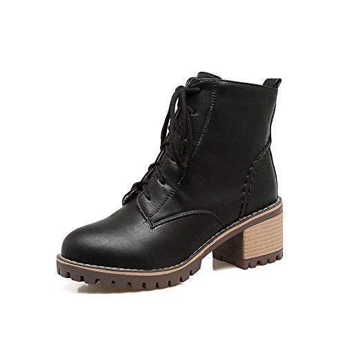 BalaMasa Womens Casual Retro Slip-Resistant Slip-Resistant Urethane Boots ABL10335 Black