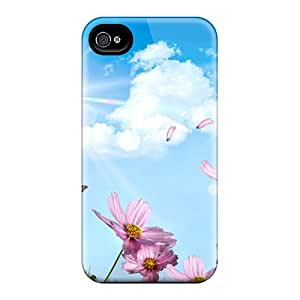 Special Design Back Pink Flowers With Butterflies Phone Case Cover For Iphone 4/4s
