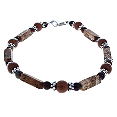 Cheap Timeless-Treasures Womens Picture Jasper, Brecciated Jasper, Tigerskin Jasper & Sterling Silver Anklet with Daisies for cheap