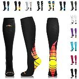 NEWZILL Compression Socks (20-30mmHg) for Men & Women - Best Stockings for Running, Medical, Athletic, Edema, Diabetic, Varicose Veins, Travel, Pregnancy, Shin Splints. (i-Fire, Small)