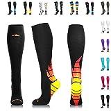 zipper pressure stockings - NEWZILL Compression Socks (20-30mmHg) for Men & Women - Best Stockings for Running, Medical, Athletic, Edema, Diabetic, Varicose Veins, Travel, Pregnancy, Shin Splints. (i-Fire, Medium)