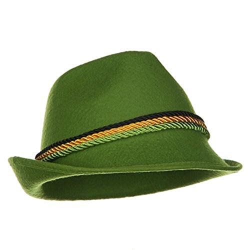 Green Felt Alpine Oktoberfest German Bavarian Costume Hat -