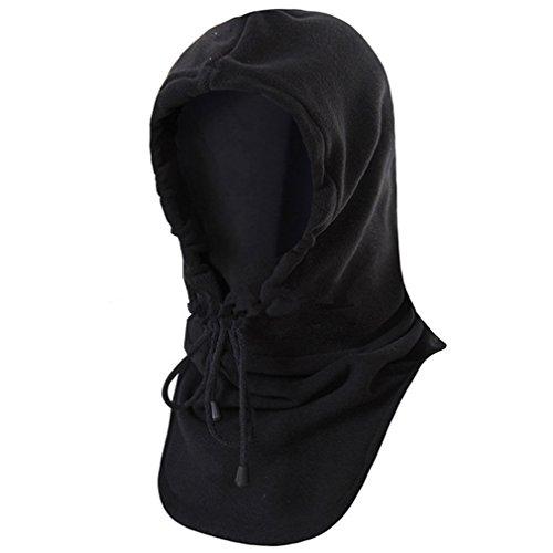 BESTEAM Fleece Balaclava Windproof Hat Ski Face Mask Fleece Hood Sports Mask (Black)