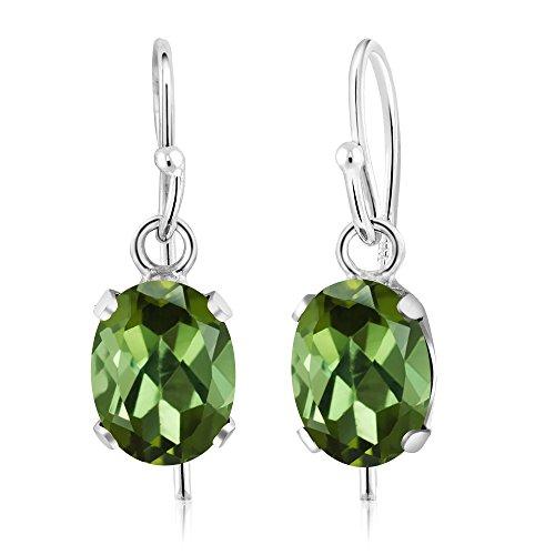 Gem Stone King 1.70 Ct Oval Green Tourmaline 925 Sterling Silver Earrings