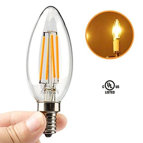 Light Bulbs Type B 40 Watt: Amazon.com:Leadleds LED Candelabra Bulb, E12 base 4W 2700K 380 Lumens C35 Candle LED  Bulb, 40W Equivalent LED Chandelier Bulb, UL Listed,Lighting