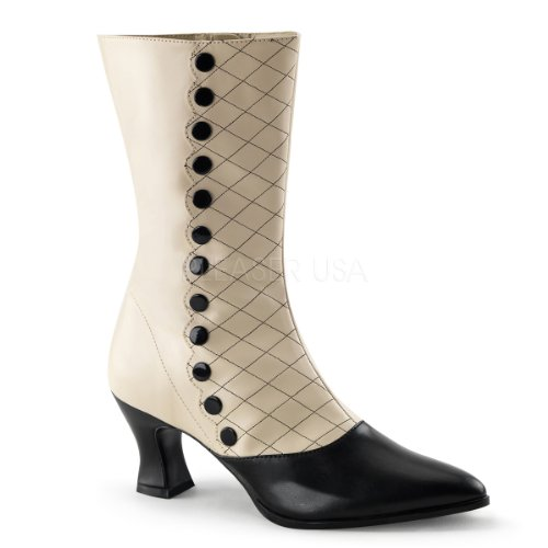 Funtasma Women's Victorian-123 Boot, Cream/Black Polyurethane, 8 M