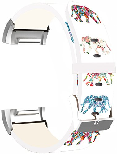 (Leather Bands Replacement for Fitbit Charge 2 - Strap Compatible for Fitbit Charge 2 Small & Large Silver Women Men - Flower Colorful Cute Elephant Animal Design Print for)