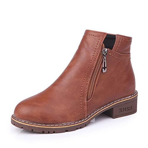 - York Zhu Women Fashion Causual Boots,Side Zipper Chunky Heel Ankle Boots