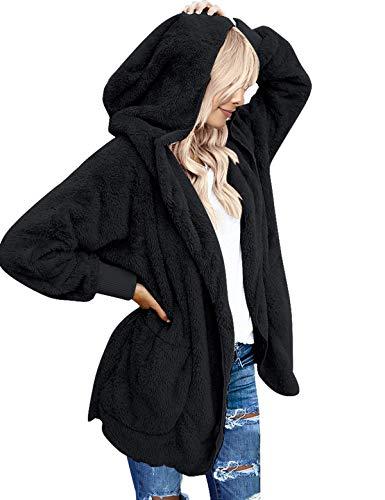 ACKKIA Women's Casual Draped Open Front Oversized Pockets Hooded Coat Cardigan Black Size Medium (US 8-10)