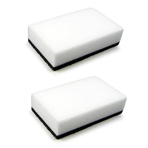 Pack de 2 éponges puissantes de nettoyage et de récurage en gomme et en tampon ROGGE - blanc / noir