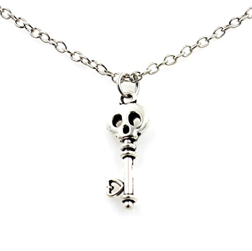 Steampunk - Tiny Silver Tone Skull Key Necklace - Gothic Goth - Skeleton - tinyskull (Skull Key Necklace)