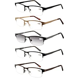 Eyecedar Metal Half-Frame Reading Glasses Men 5-Pack Spring Hinges Stainless Steel Material Includes 5-Cloth Pouch And Sun Readers 1.50