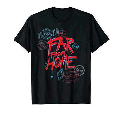 (Marvel Spider-Man: Far From Home Passport Stamps T-Shirt)