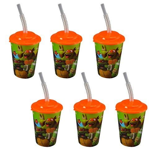 UPD Teenage Mutant Ninja Turtles 12 oz Lenticular Tumbler Cups with Lids & Straws, 6 Pack -