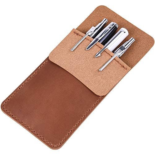 Wisdompro Genuine Leather Heavy Duty Pocket Protector Pen Holder/Pouch for Shirts, Lab Coats, Pants - Multi-Purpose; Holds Pens, Pointers, Pencils, and Notes - Brown ()