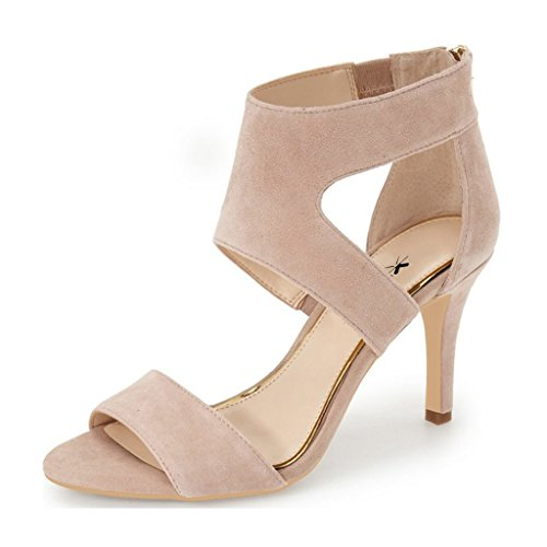 Dance Strappy Sandals (XYD Prom Dancing Shoes Elegant Open Toe Strappy Heeled Sandals Ankle Wrap Dress Pumps For Women Size 6 Nude)