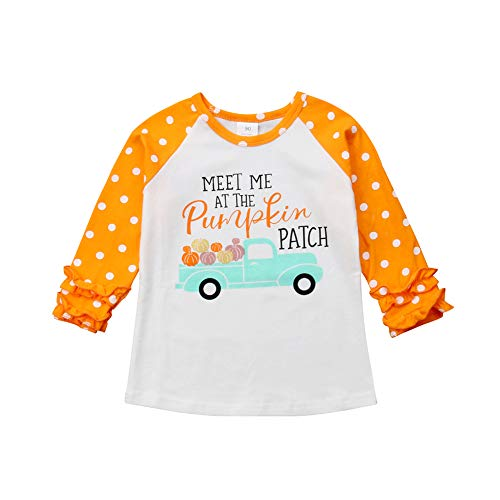 Baby Girls Halloween Long Sleeve Pumpkin Printed Ruffles T-Shirt Tops Clothes Outfits (3-4 T, Orange 2) -