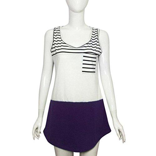 Winwintom Las mujeres chaleco sin mangas de camisa de verano casual Stripe Tank Tops Morado