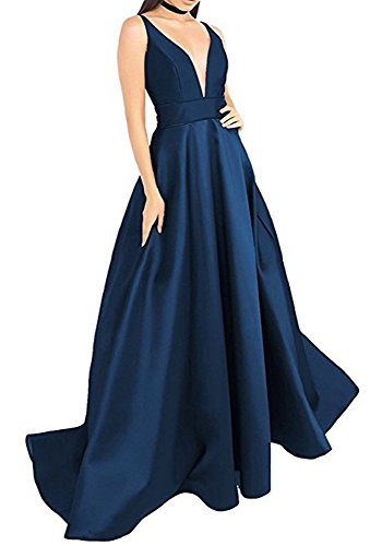 Pockets Navy Formal Dress with Dressylady V Evening Dress Satin Wome's Deep Neck Long Prom RpfR76q