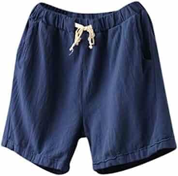 5fe2a9f8cf1d Summer Clearanc!Women Casual Cotton Linen Shorts Elastic Waist Summer Slim  Lady Short Pants by