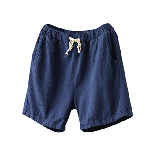 Summer Clearanc!Women Casual Cotton Linen Shorts Elastic Waist Slim Lady Short Pants by-NEWONESUN Navy