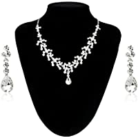 NT_Big Charm Wedding Bridal Rhinestone Crystal Pendant Necklace Earring Plated Jewelry Set (Silver)