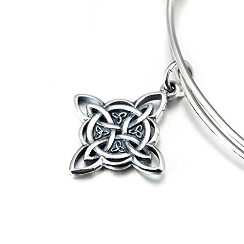 Sterling Silver Irish Celtic Knot Angle Wing Expandable Wire Charm Bangle Bracelet by SILVER MOUNTAIN