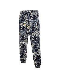 Realdo Mens Fashion Floral Print Trousers Sweatpants Elastic Waist Creative Pants