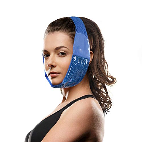 Hot Cold Jaw and Forehead Ice Pack by FOMI Care | Flexible Gel Bead Wrap for TMJ, Wisdom Teeth, Oral and Facial Surgery, Dental Implants, Migraine, Headache, Chin and Tooth Pain | Adjustable, Reusable (Best Ice Packs For Wisdom Teeth)