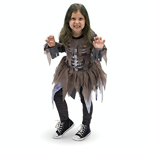 Hungry Zombie Children's Girl Halloween Dress Up Theme Party Roleplay & Cosplay Costume (Youth Medium (5-6)) -