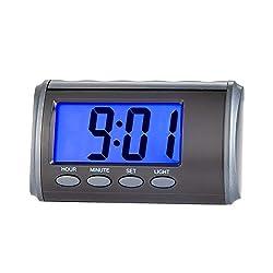 Tinload Small Talking Digital Alarm Clock -Simple Basic Operation, Battery Operated, Alarm, Snooze, Light, Perfect for Desk, Shelf, Travel, Bedside, Black