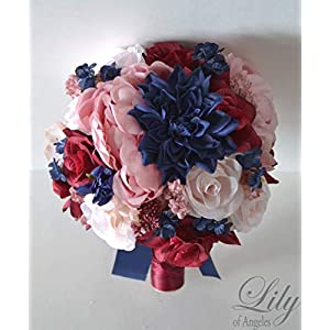 Wedding Bouquet, Bridal Bouquet, Bridesmaid Bouquet, Silk Flower Bouquet, Wedding Flower, Burgundy-marsala-wine-sangria-navy-navy blue, Lily of Angeles 24