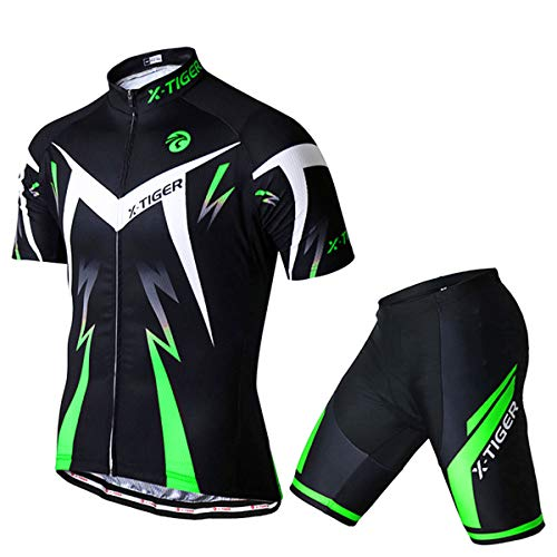 X-TIGER Men's Cycling Jersey Set,Biking Short Sleeve Set with 5D Gel Padded Shorts,Cycling Clothing Set for MTB Road Bike,Green XXL