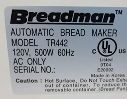 BREADMAN Bread Machine Paddle TR442 TR-442 Kneading Blade Part Maker Baker